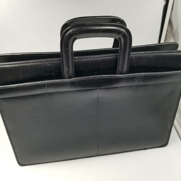 Handbags - Black Briefcase Leather Unisex Laptop 15″ Computer